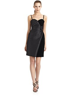 Giorgio Armani - Wool & Silk Velvet Rosette Cocktail Dress