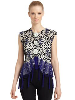 Giorgio Armani - Intricate Beaded Fringe Detail Top