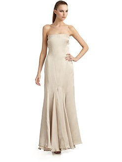 Giorgio Armani - Silk Satin Strapless Pleated Hem Gown