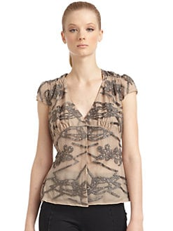 Giorgio Armani - Chiffon Embroidered Rhinestone Detail Top