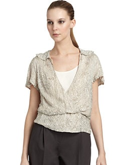 Giorgio Armani - Silk Beaded Sequin Top