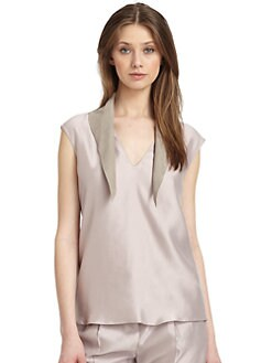 Piazza Sempione - Silk & Suede Top