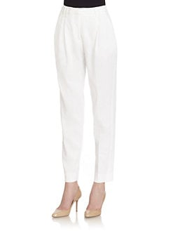 Piazza Sempione - Pleated Linen Blend Pants/White