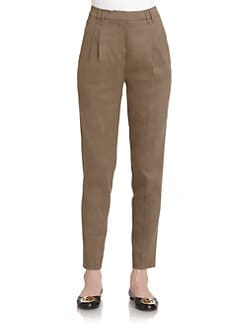Piazza Sempione - Pleated Linen Blend Pants/Tan