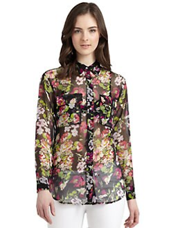Equipment - Signature Silk Chiffon Floral Blouse