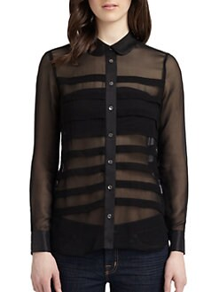 Equipment - Sophie Silk Pleated Blouse