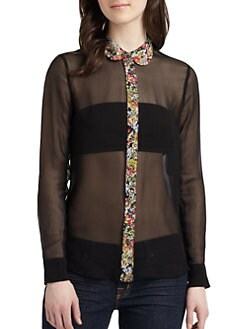 Equipment - Sophie Silk Floral Contrast Blouse