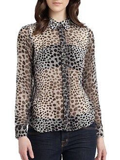Equipment - Brett Silk Chiffon Leopard Blouse