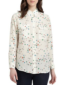 Equipment - Signature Silk Diamond Print Blouse