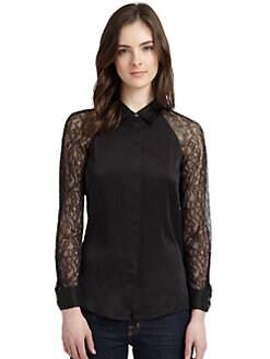 Equipment - Quinn Silk Lace Sleeve Blouse