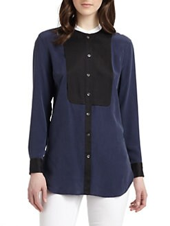 Equipment - Tanner Silk Contrast Bib Blouse