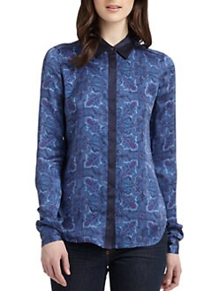 Equipment - Lowe Silk Quilt Print Blouse