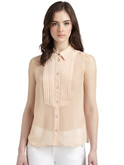 Equipment - Tuxedo Diem Silk Button-Front Blouse
