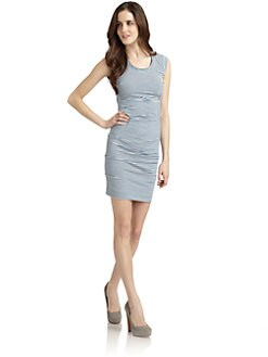 Nicole Miller - Striped Tuck Dress/Baby Blue