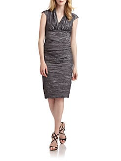Nicole Miller - Metallic Crinkle Cap Sleeve Dress