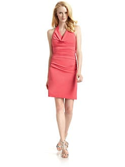 Nicole Miller - Draped Halter Dress/Watermelon