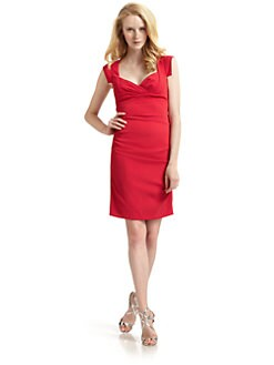 Nicole Miller - Ruched Cap Sleeve Dress/Cherry