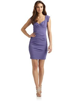 Nicole Miller - Ruched Cap Sleeve Dress/Lilac