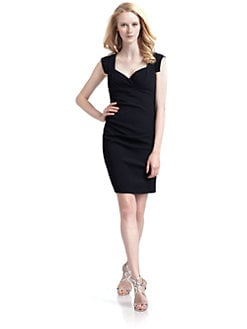 Nicole Miller - Ruched Cap Sleeve Dress/Black