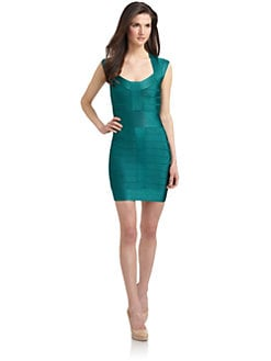 French Connection - Ribbon Knit Cap Sleeve Bandage Dress