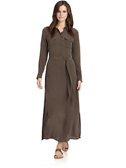 Equipment - Signature Silk Maxi Dress/Chocolate