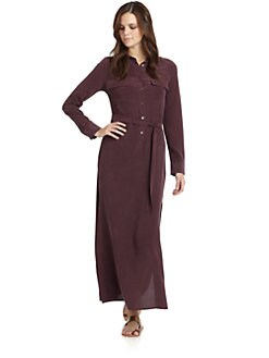 Equipment - Signature Silk Maxi Dress/Wine