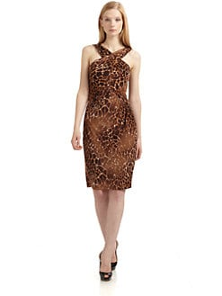 David Meister - Croc-Print Crisscross Front Dress