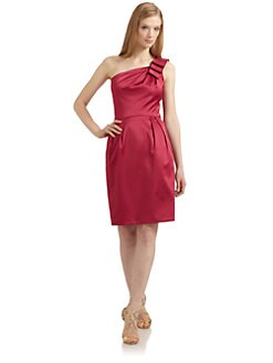 David Meister - Ruffled One-Shoulder Cotton Sateen Dress