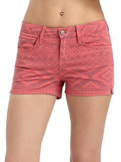 SOLD Design Lab - Ikat-Print Denim Shorts