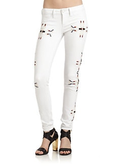 SOLD Design Lab - Soho Tribal-Embroidered Super Skinny Jeans