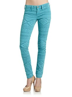 SOLD Design Lab - Soho Tribal Print Super Skinny Jeans