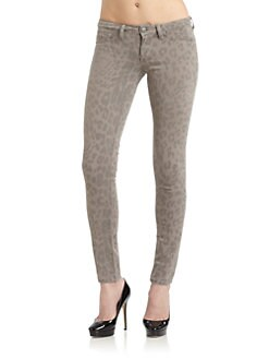SOLD Design Lab - Soho Faded Leopard-Print Super Skinny Jeans