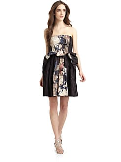 Cacharel - Crinkled Abstract Floral Strapless Cocktail Dress