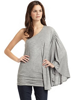 Feel The Piece - One Shoulder Angel Tunic/Grey