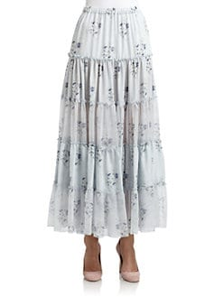 Candela - Gaba Silk Floral Peasant Skirt