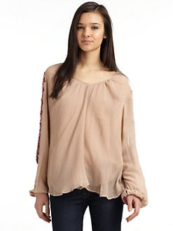 Chelsea Flower - Silk Chiffon Embroidered & Sequin Detail Blouse/ Birch