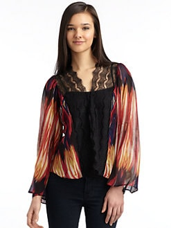 Love Sam - Ethnic Print Lace-Trim Cardigan