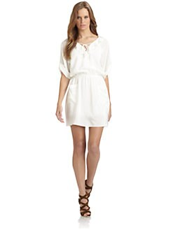 Rebecca Minkoff - Nolita Silk Ruffled Lace-Up Dress