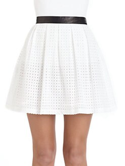 Rebecca Minkoff - Femi Cotton Eyelet & Leather Skirt
