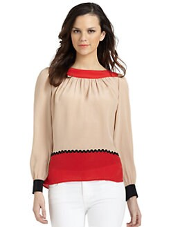 Pippa - Silk Colorblock Blouse