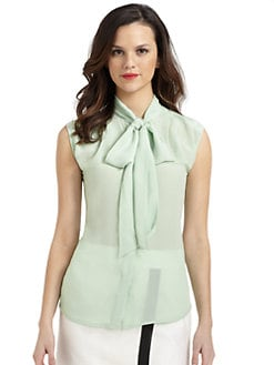 Pippa - Silk Sleeveless Tie-Neck Blouse