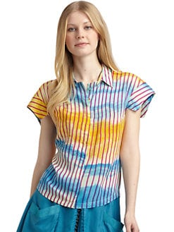 Twenty8Twelve - Stripe Tie-Dyed Button Front Shirt