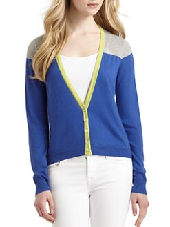 Qi New York - Anya Cashmere Colorblock Cardigan