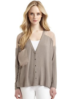 Qi New York - Veronika Sheer Inset Cardigan