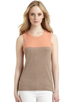 Qi New York - Ilina Cashmere Colorblock Tank Top