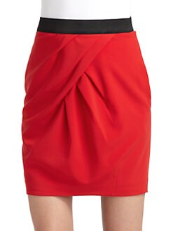 Cynthia Steffe - Lissie Asymmetrical Pleat Detail Skirt/Red