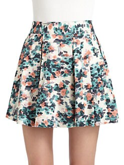 Wren - Pleated Floral Skirt