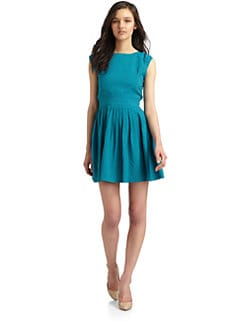 Wren - Silk Open Back Pleated Dress/Turquoise