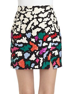 Nanette Lepore - Oolong Cotton/Silk Printed Faux-Wrap Skirt