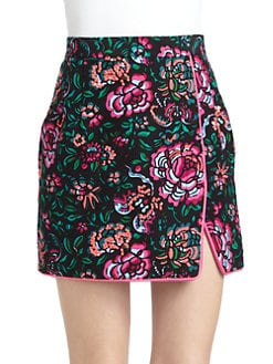 Nanette Lepore - Blossom Cotton/Silk Printed Faux-Wrap Skirt